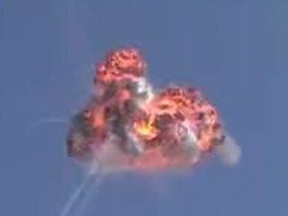 Взрыв военного вертолета в воздухе