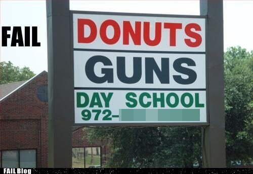 Get Your Guns...And Donuts? Odd Establishment That Sell Guns And Other Supplies.