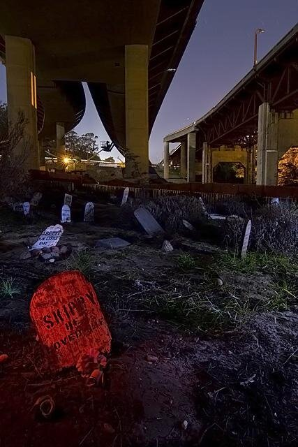 Creepy Night Pictures of a Pet Cemetery by Troy Paiva