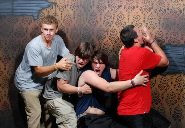 People Freaking Out in a Haunted House