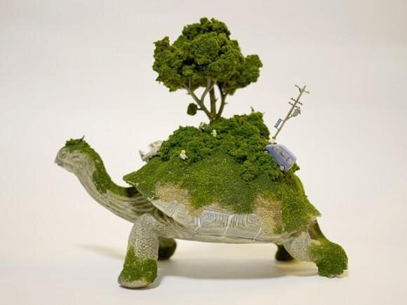 Sculptures of Animals Carrying Tiny Worlds on Their Backs By Maico Akiba
