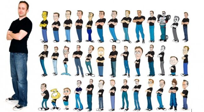 Animator Draws Himself in 100 Different Cartoon Styles от Marinara за 29 apr 2013