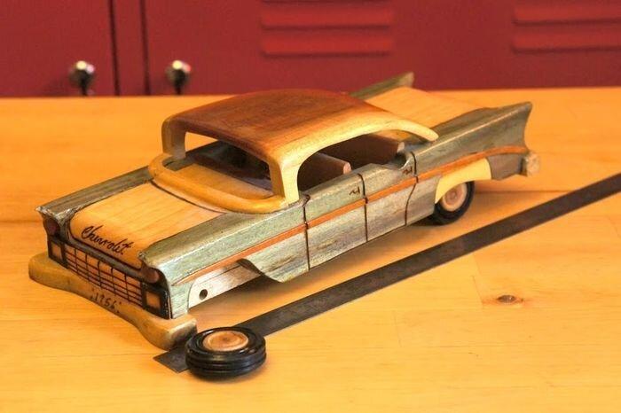 Самодельная модель авто из дерева (12 фото)