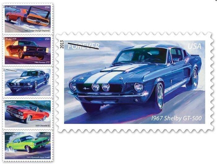 В США выпустили коллекцию марок с легендарными масл-карами (6 фото)
