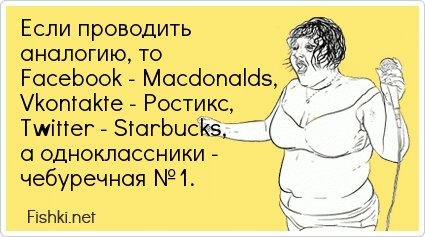 Если проводить аналогию, то Facebook - Macdonalds, Vkontakte -... от unknown_user за 24 июня 2013