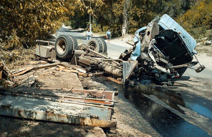 Авария грузовика с пивом
