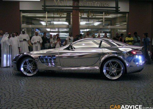 Mercedes покрытый белым золотом (3 фото)