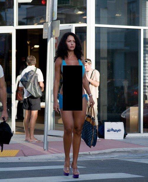 Смелая девушка в Маями (6 фото)