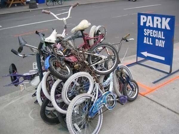 Как паркуются велосипедисты (20 фото)