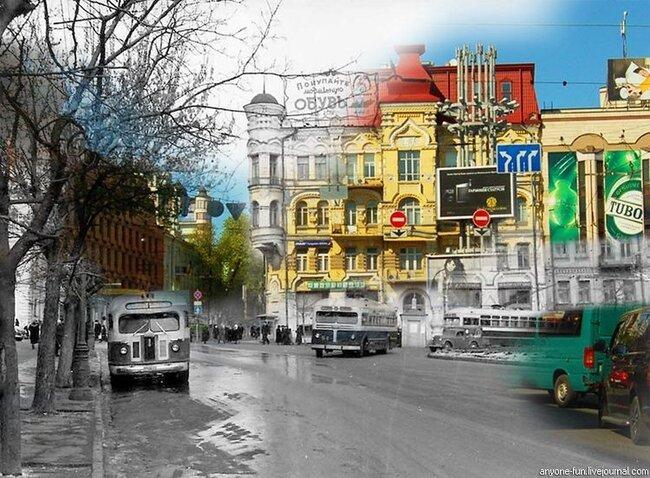Киев - раньше и теперь (10 фото)