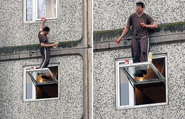 Псих на окне в Англии (7 фото)