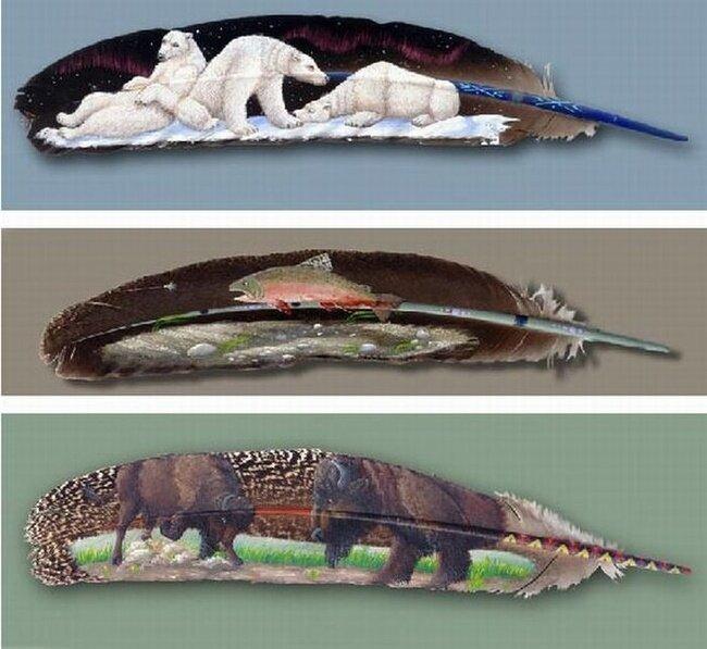 Рисунки на перьях (9 фото)