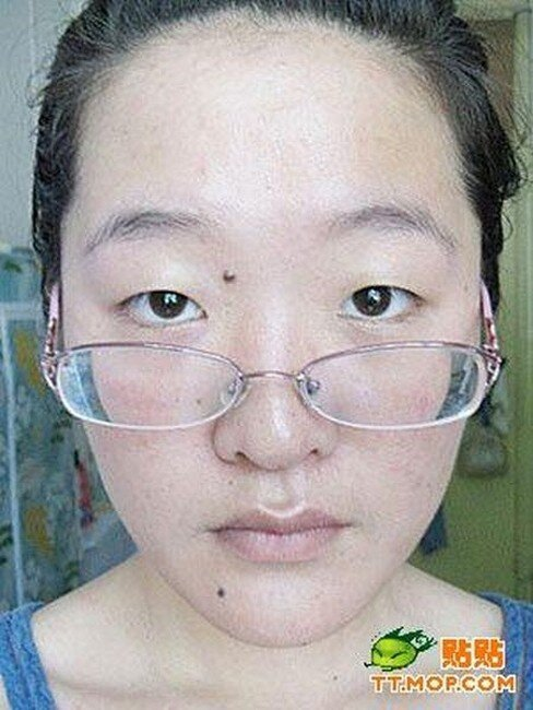 Китайская девочка до и после косметики (12 фото)