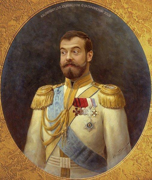 Коля Медведев и Государь батюшка Путин (3 фото)