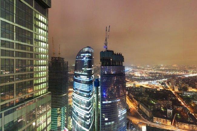 Круговая панорама с 53 этажа башни «Империя», «Москва-Сити» (flash)