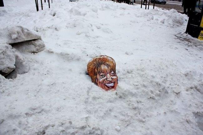 "Акция анархистов ""Матвиенко убирает снег"" (14 фото)"