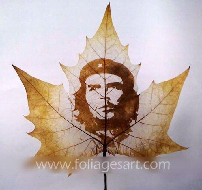 Картины на листьях. Часть 2 (78 фото)