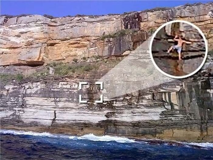 Пьяный турист уснул на скале в Австралии (7 фото)