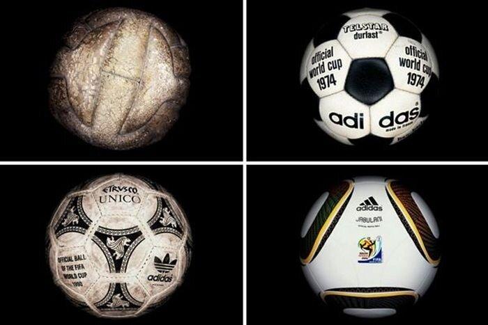 Эволюция мячей со всех Чемпионатов мира по футболу с 1930 года (22 фото)
