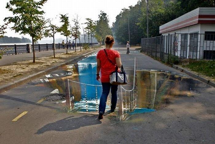 3d рисунки на улицах Москвы (11 фото)