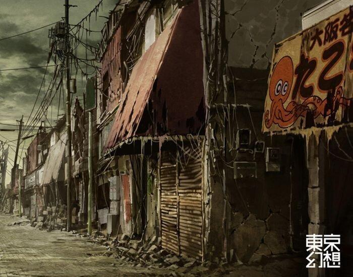 Постапокалиптические рисунки Токио (34 фото)