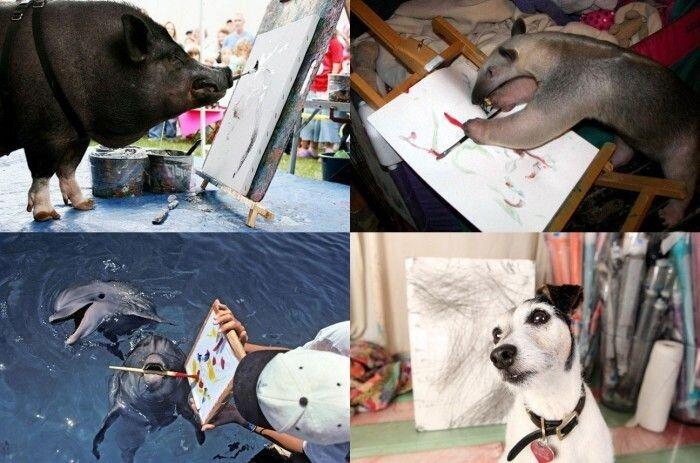 10 самых известных животных-художников (10 фото)