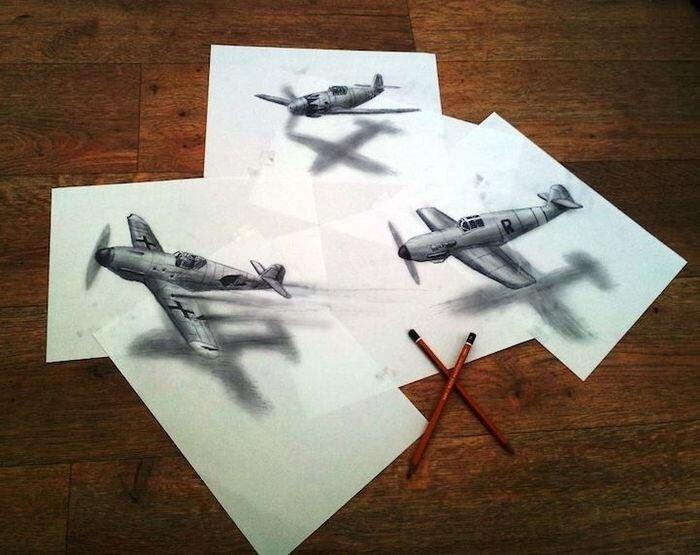 Трехмерные рисунки, сделанные карандашом (11 фото)