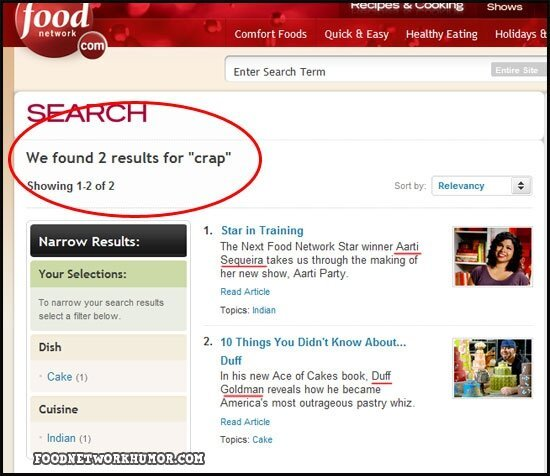 Food Network Search FAILS