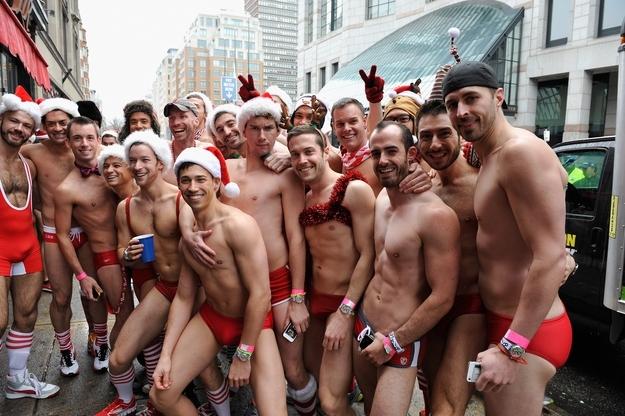 Speedo Clad Santas Go For A Run