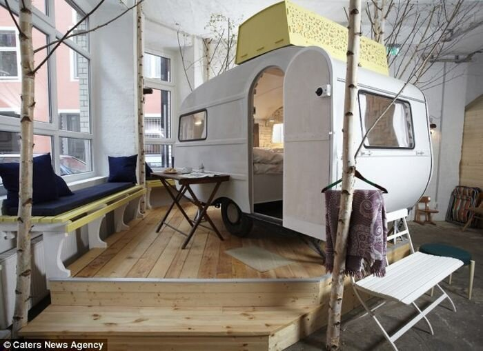 Mobile Caravans inside the Hotel