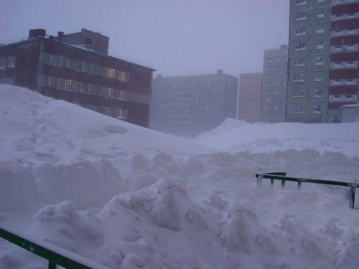 Snowfall in Norilsk