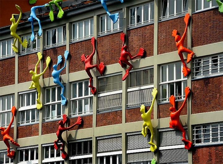 Giant Sticky Man Toys Climb German Buildings