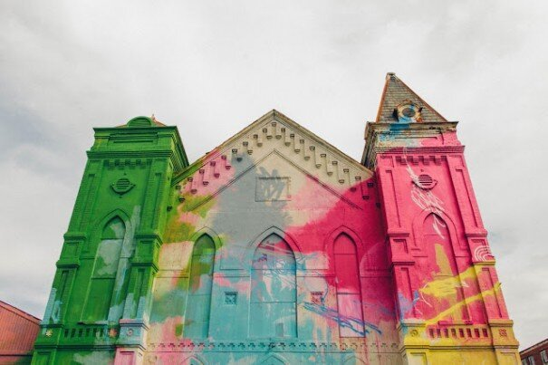Historic Church Transformed with Graffiti Art by Hense