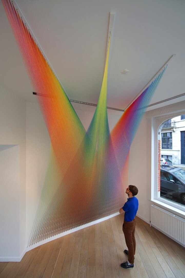 Thousands of Threads Form Vibrant Rainbows