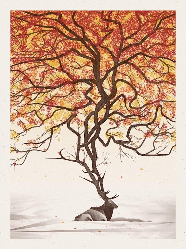Beautiful New Art Print of Elk in the Fall