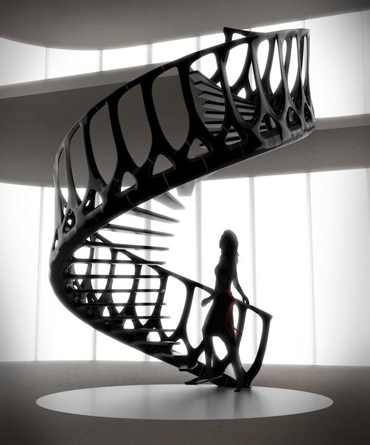 Gorgeous Spiraling Staircase Mimics a Whale's Spine