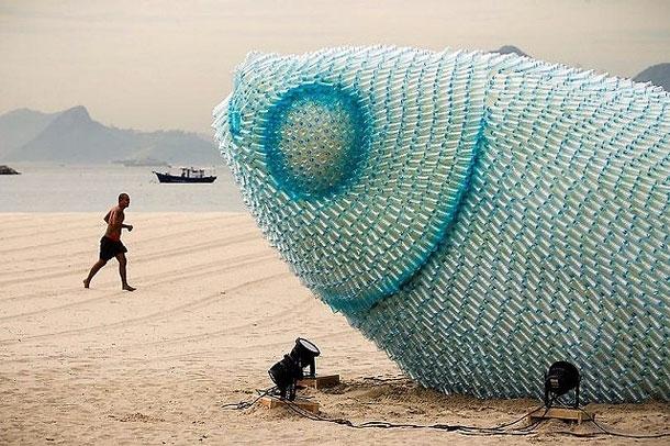 Enormous Fish Sculptures Pop Up On Brazilian Beach