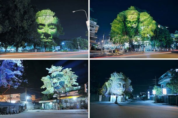 Stunning 3D Gargoyle Heads Projected Onto Trees