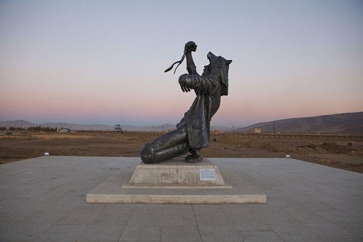 Striking Half Man/Half Wolf Sculpture in Mongolia