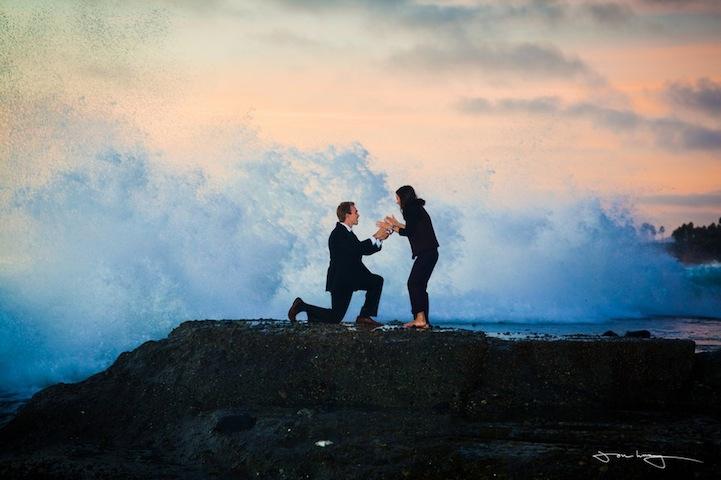 Giant Wave Interrupts Beach Wedding Proposal