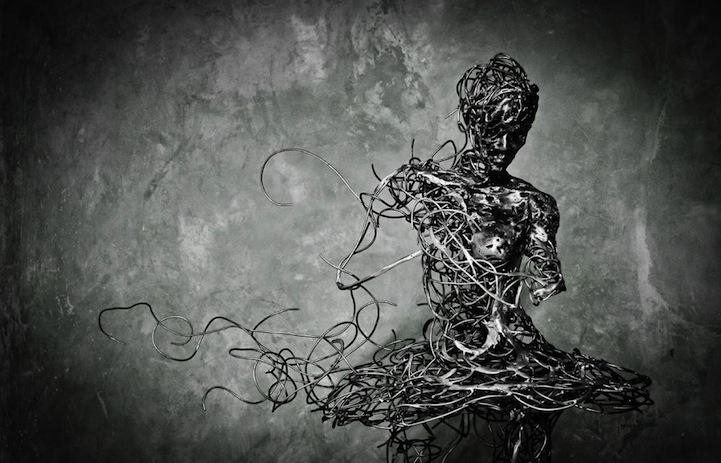 Unraveling Steel Ballerina Sculptures Symbolize Mortality