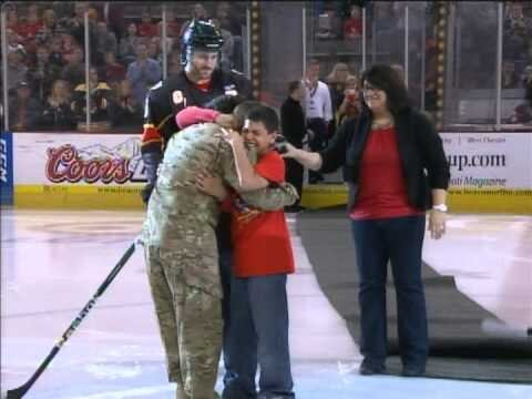 Soldier Reunites with Family Prior To Hockey Game (video)