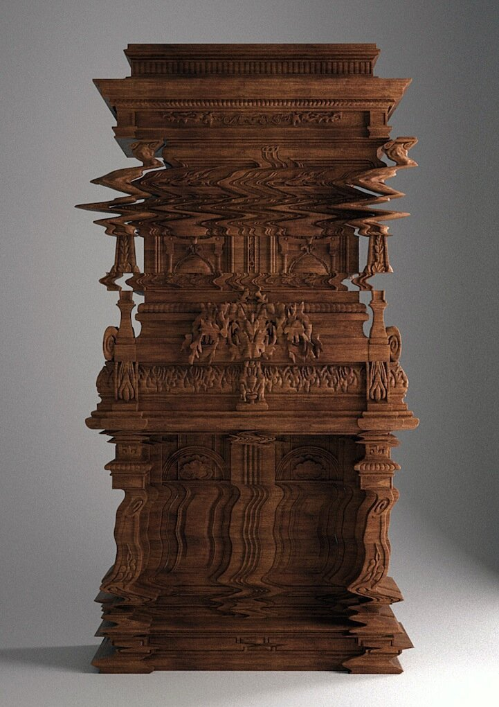 Mind-Boggling Cabinet Designed to Look Like a Digital Glitch