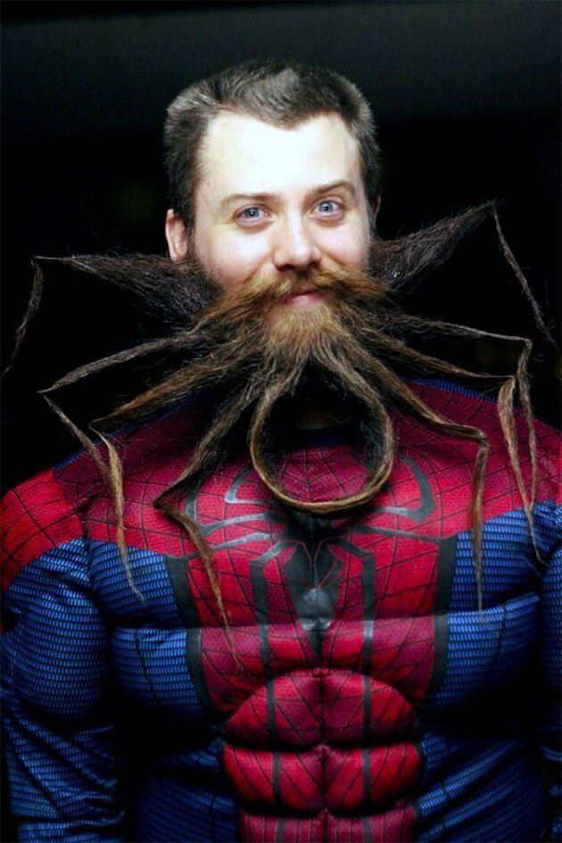 Chad Roberts Expert Beard Grower Dons Spider Man-Beard