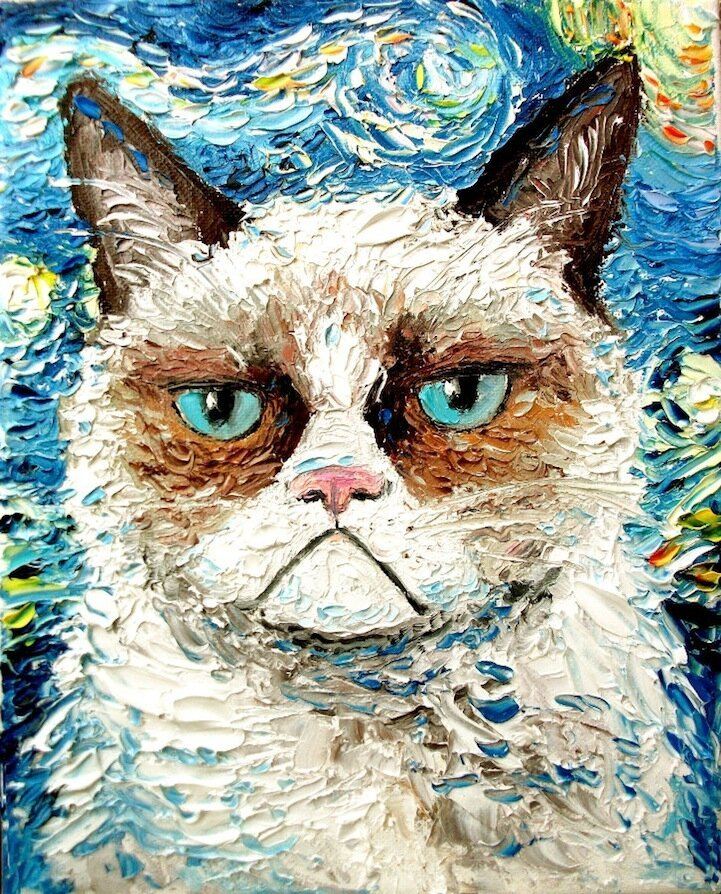 Palette Knife Paintings of Hilarious Grumpy Cats By Aja Apa-Soura