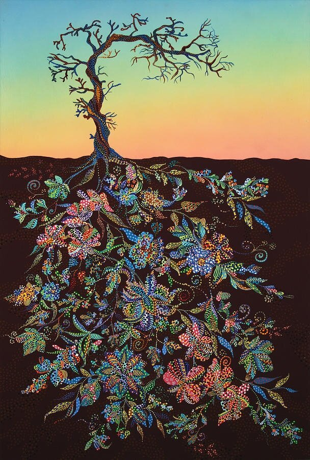 Gorgeous Paintings of Tree Roots Filled with Colorful Detail By Erika Pochybova-Johnson