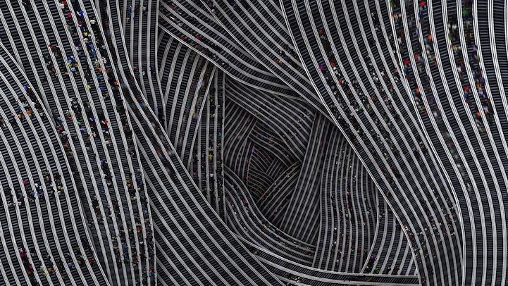 Mesmerizing Digital Collages of People Climbing Stairs By Jiyen Lee