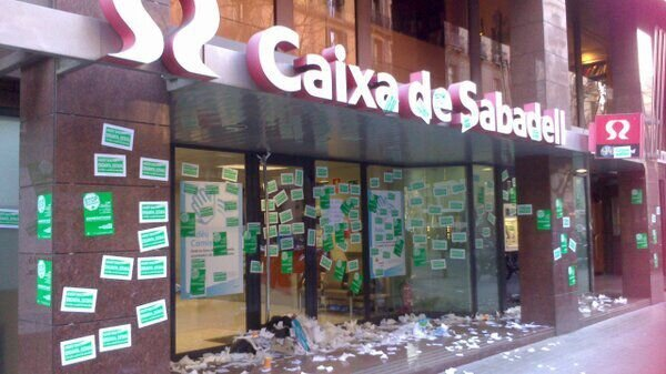 Spanish Protesters Against the Eviction Occupied a Bank Branch