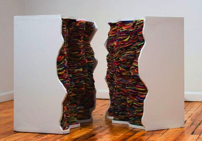 Fabric and Paper Layered Into Spectacular 3D Sculptures By Andrea Myers