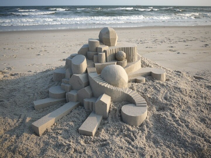 Amazing Geometric Forms Sculpted With Sand By  Calvin Seibert